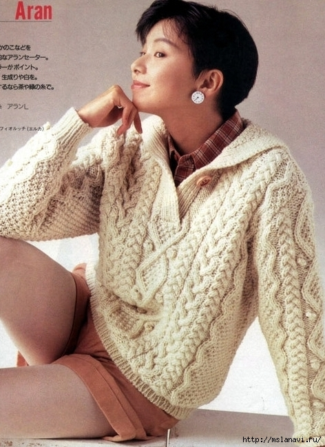 арановый пуловер спицами (472x649, 253Kb)