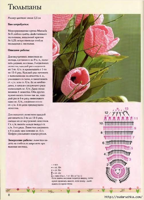 145Вязание цветов крючком описание видео