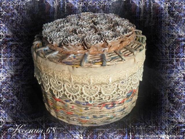 Плетение из газет. Шкатулка с розочками из бумаги