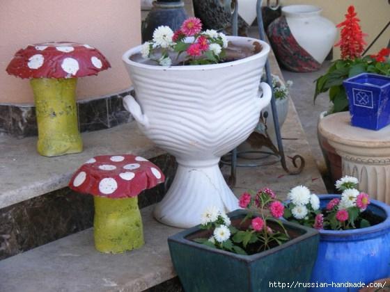 грибы из бетона для сада (5) (560x420, 147Kb)