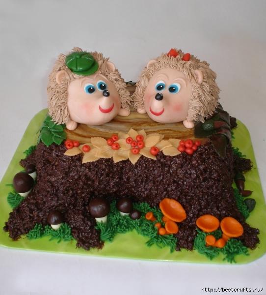 Детский тортик ЕЖИКИ В ЛЕСУ (1) (542x600, 213Kb)