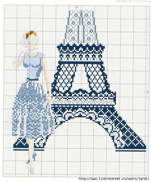 Эйфелевая башня вышивка схема