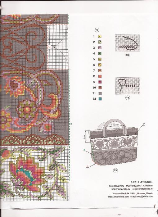 Схемы вышивки сумки риолис
