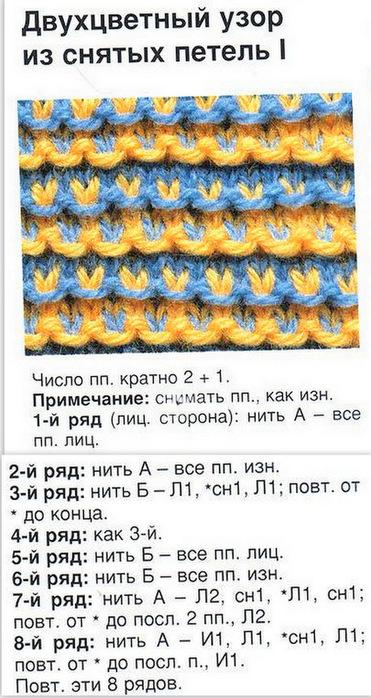Узоры спицами с описанием и схемами многоцветные