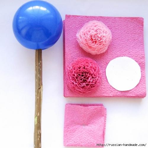 Розовый топиарий из бумажных салфеток (3) (500x500, 164Kb)