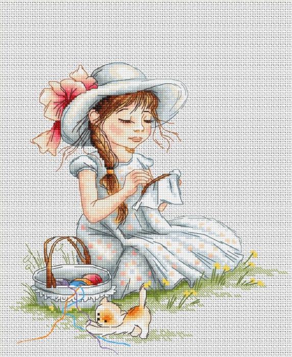 Вышивка крестом-девочки 13