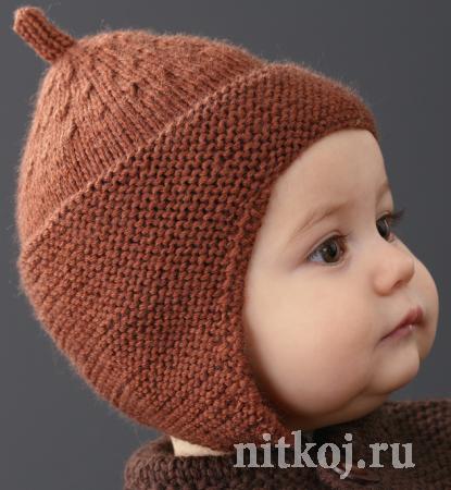 Детская шапочка спицами из