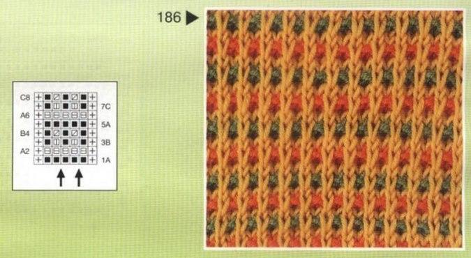 Узоры спицами цветные из снятых петель спицами