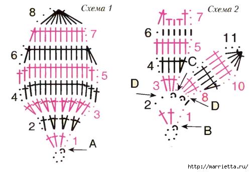Цветы ОРХИДЕИ крючком. Схемы (3) (500x343, 96Kb)