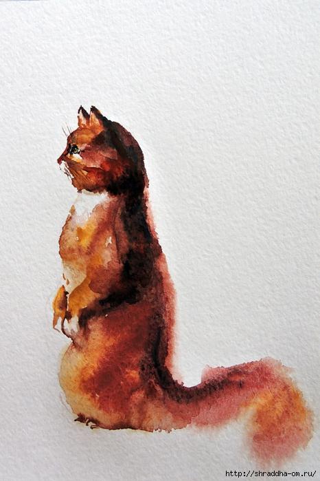 акварель, кот рыжий, от Shraddha (2) (466x700, 249Kb)