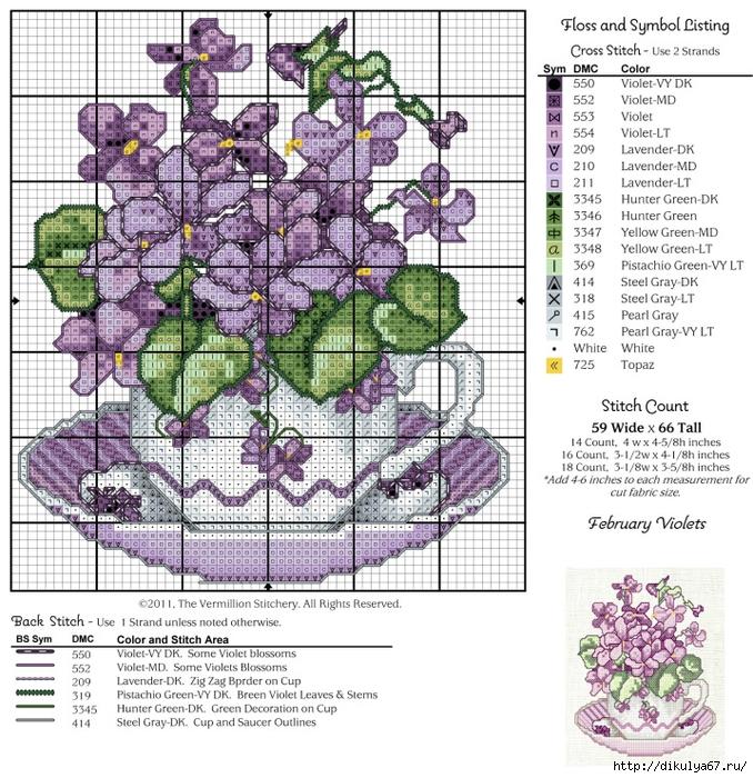 Схема вышивки цветы в чашке