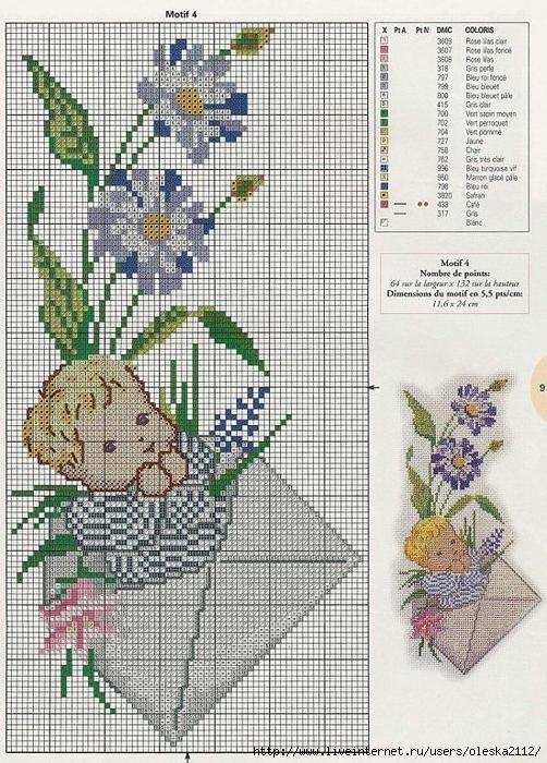 Вышивка крестом схемы ребенка или детей 662