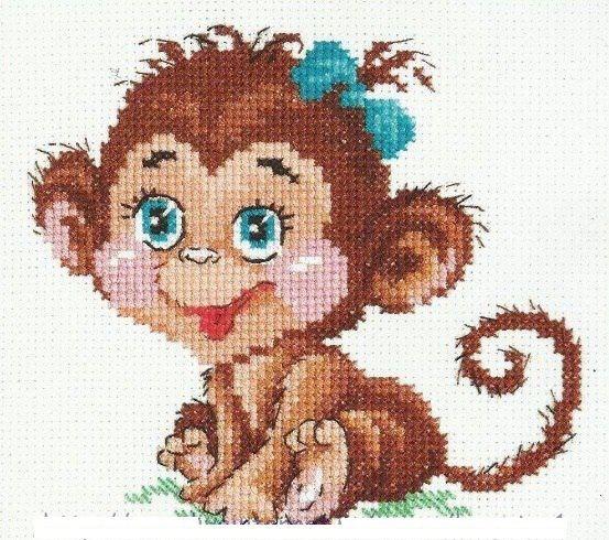 Вышивка крестиком обезьяны