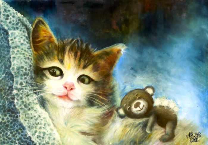 неспящий кот с мишкой масло подпись сжатый (700x489, 30Kb)