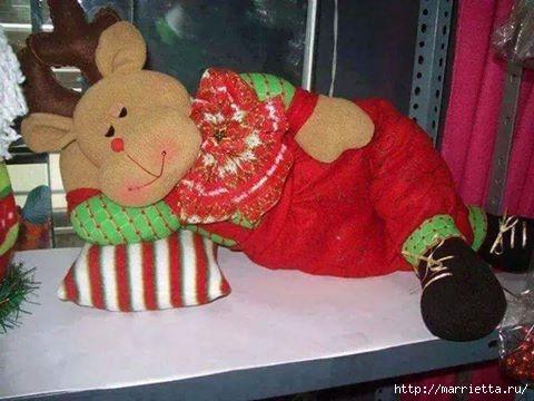 Спящий рождественский олень. Выкройка (1)