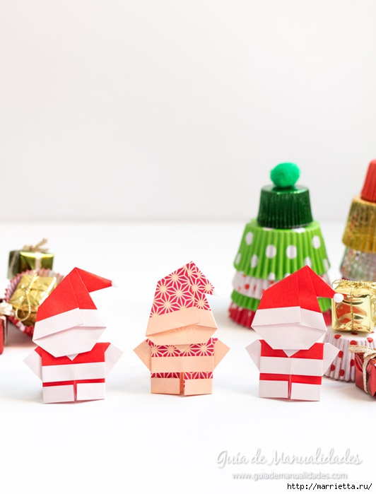 Санта Клаус из бумаги в технике оригами (1) (532x700, 136Kb)