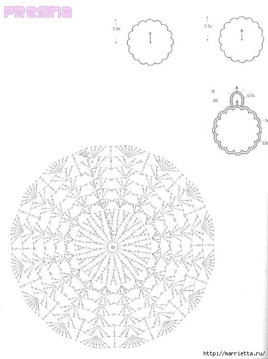 Вязание крючком. Салфетки с розочками (6) (521x700, 148Kb)