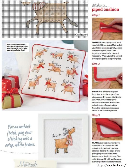 Рождественские олени на подушке. Схемы вышивки крестом (4) (527x700, 305Kb)