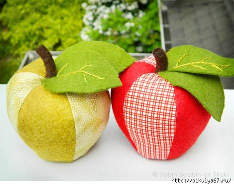 Сшить яблоки из ткани 74