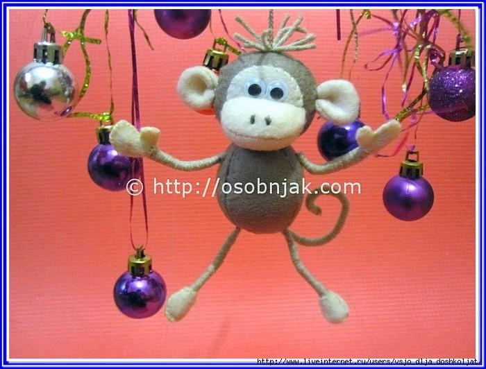 Новогодняя игрушка в виде обезьяны своими руками