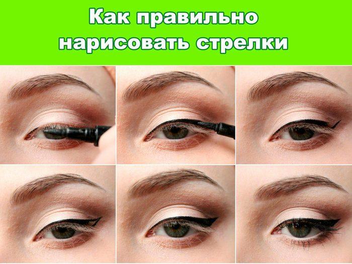 Как сделать правильные стрелки на глазах пошагово