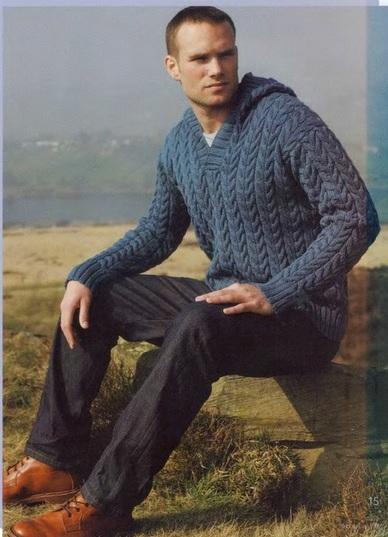 Спицами для мужчин. Пуловер с капюшоном (1) (388x537, 190Kb)