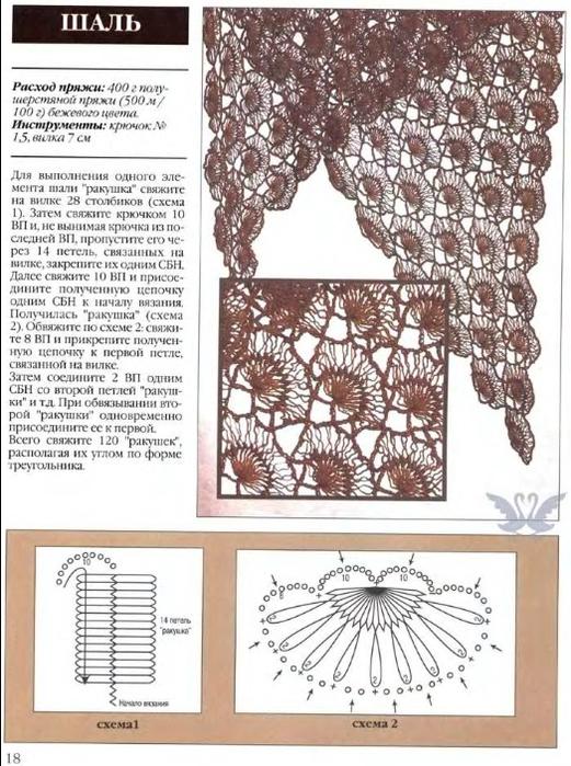 Вязание крючком и вилкой схемы и описание