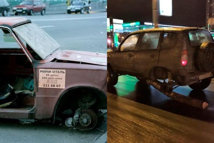Фото: Водитель «Нивы» заменил колесо поленом! Смешные надписи на автомобилях