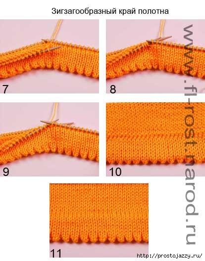 Красивый край вязаного изделия спицами