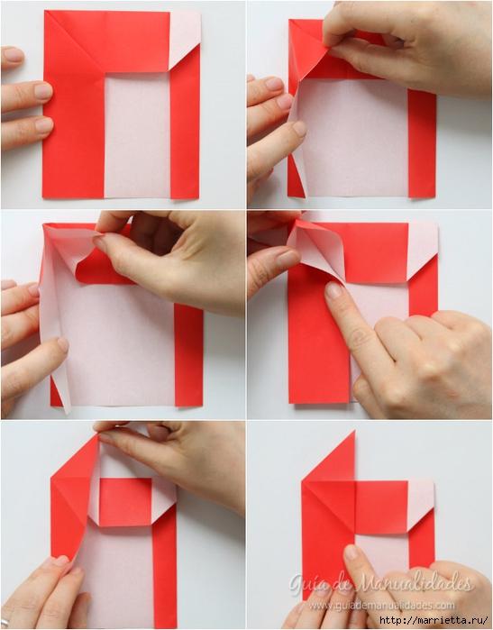 Санта Клауса на санях из бумаги складываем в технике оригами (5) (547x700, 220Kb)