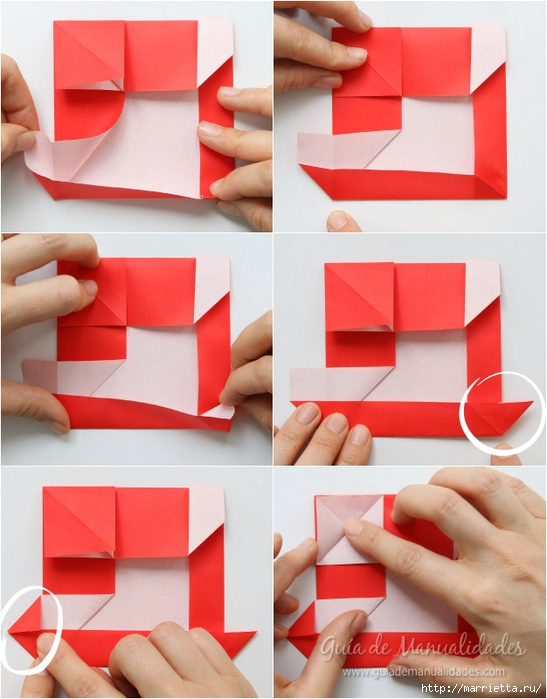 Санта Клауса на санях из бумаги складываем в технике оригами (7) (547x700, 243Kb)