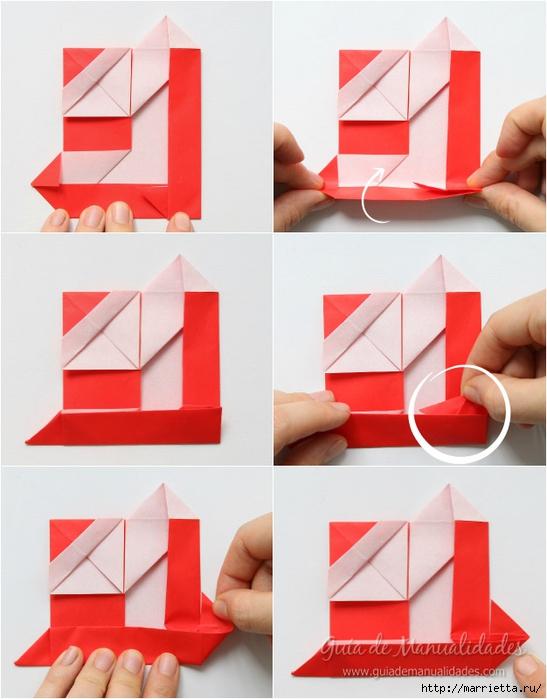 Санта Клауса на санях из бумаги складываем в технике оригами (9) (547x700, 223Kb)