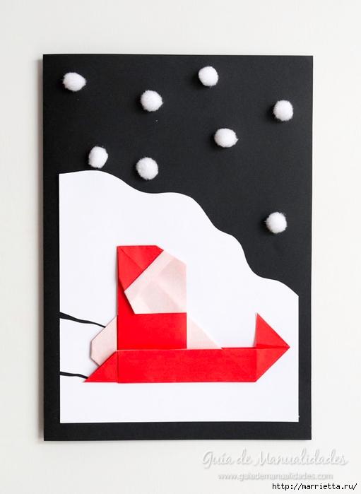 Санта Клауса на санях из бумаги складываем в технике оригами (13) (511x700, 158Kb)
