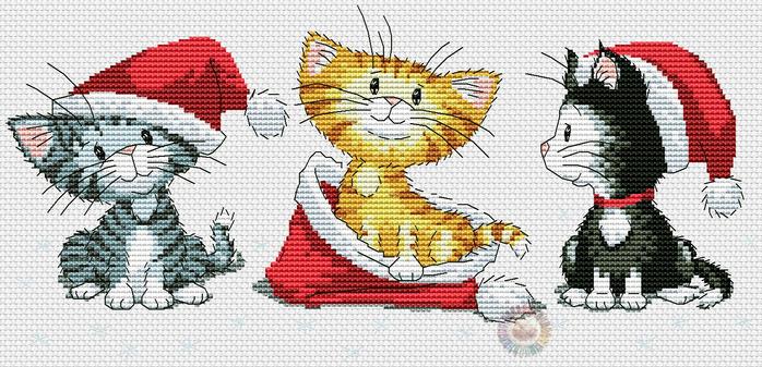 Christmas kittens back (700x337, 323Kb)
