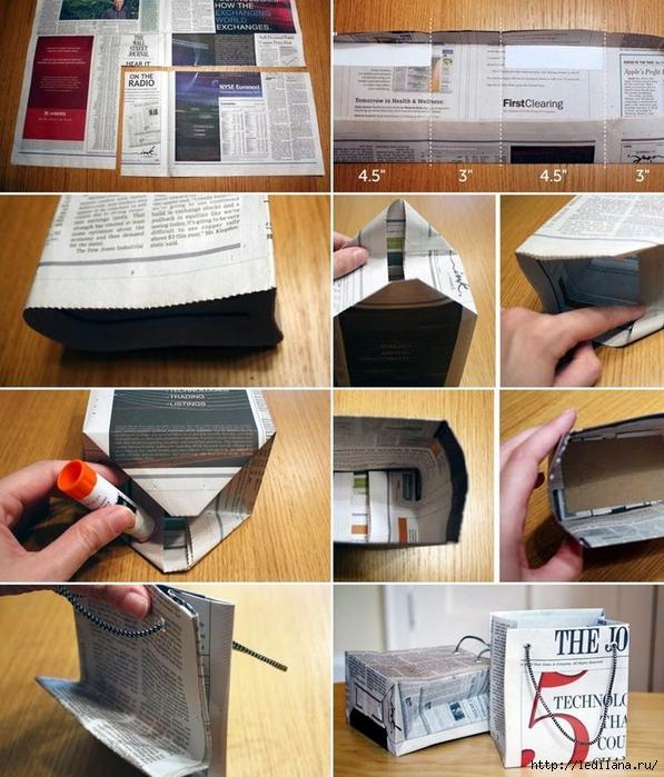 Подарочный пакет из газеты или журнала 4 (597x700, 330Kb)