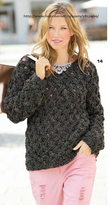 Меланжевый пуловер с плетёным узором схема описание (378x700, 195Kb)