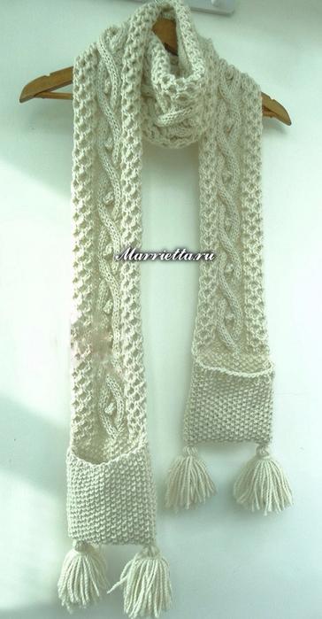 Длинный шарф с карманами. Вязание спицами (1) (364x700, 232Kb)