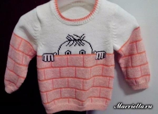 Забавный детский пуловер спицами для мальчика (9) (600x431, 167Kb)