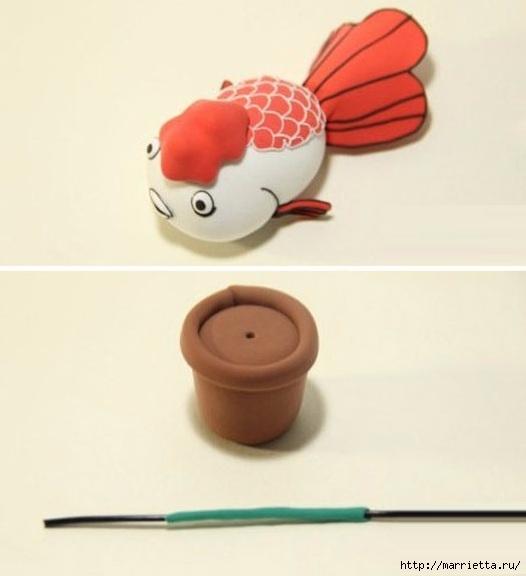 Лепка. Золотая рыбка из пластики (3) (526x576, 87Kb)