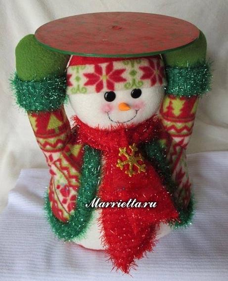 Фетровый снеговик и Санта Клаус - подставки для елочки (2) (461x568, 260Kb)