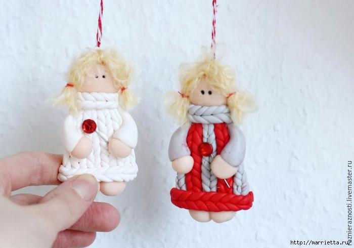 Рождественские ангелы из полимерной глины. Мастер-класс (700x490, 161Kb)