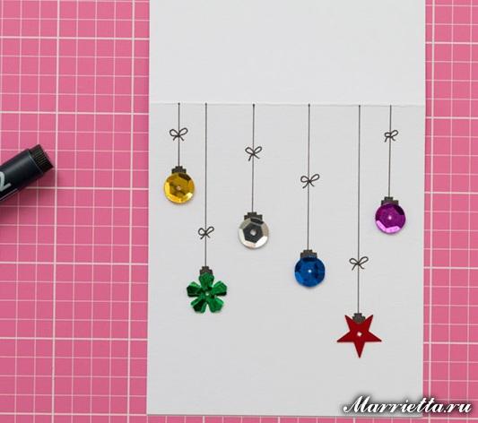 Идеи новогодних открыток и тегов из пуговиц и пайеток (5) (533x472, 174Kb)