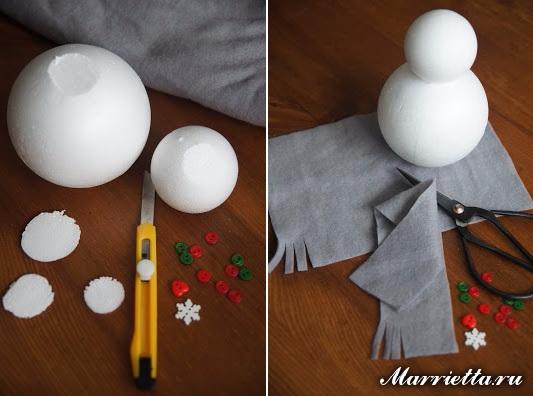Снеговики из пенопластовых шариков и фетра (2) (533x396, 166Kb)