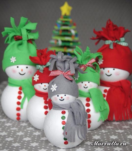 Снеговики из пенопластовых шариков и фетра (5) (537x611, 282Kb)