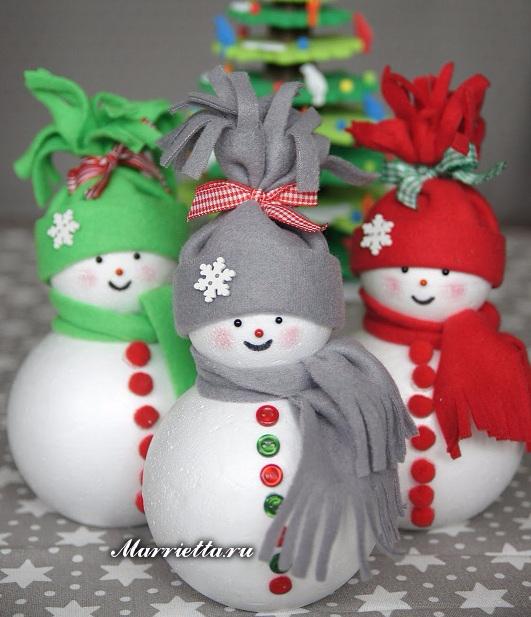 Снеговики из пенопластовых шариков и фетра (7) (531x617, 288Kb)