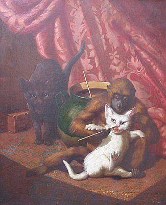 Обезьянка щекочет кошку (Affe kitzelt Katze). Картина продается./3241858_affe (325x401, 27Kb)
