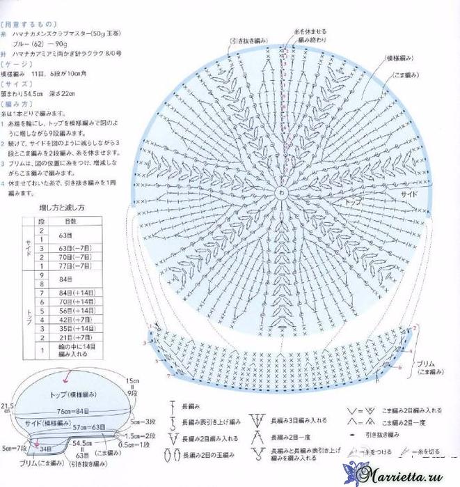 Шапочка с цветочками крючком. Схема (1) (661x700, 445Kb)
