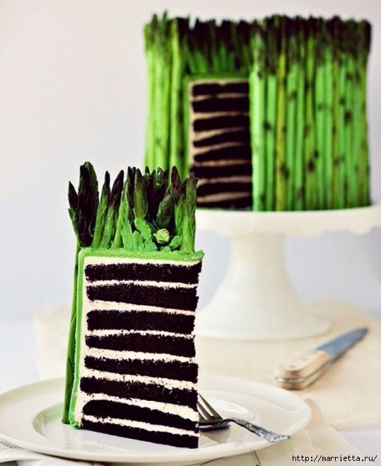Лепим спаржу из мастики. Очень оригинальный торт (2) (539x658, 187Kb)