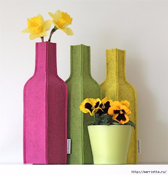 Войлочные вазы для цветов - чехлы на бутылки (4) (579x600, 175Kb)