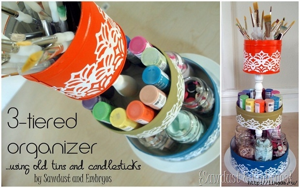 3-Tiered Organizer... using old tins and candlesticks! {Sawdust and Embryos}_thumb[1] (620x388, 186Kb)